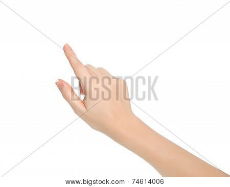 Isolated Female Hand Touching Or Pointing To Something