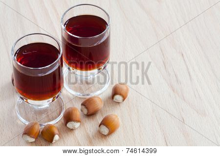 Two Glasses With Hazelnut Liqueur