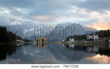 Reflection at Lago di Misurina at dawn, Dolomites, Italian Alps