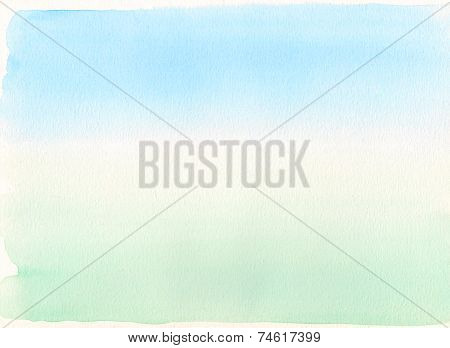 Watercolor Gradient. Blue To Green Background