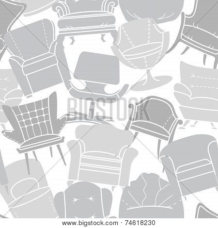 Seamless vector pattern of grey armchairs