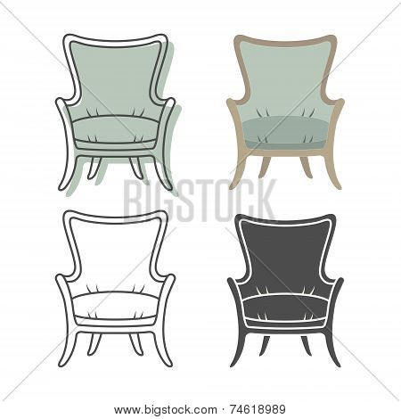 Set of colorfull and silhouette armchairs