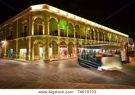 Campeche, Mexico - February 17,2014: Night View Of Main Square In Campeche, Mexico.