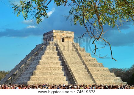 Chichen Itza, Mexico - March 21,2014 Tourists Watching The Feathered Serpent Crawling Down The Templ