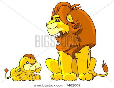 Father lion and his little son