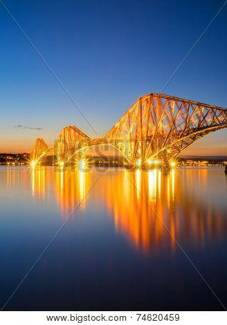 The red Forth Railbridge at night