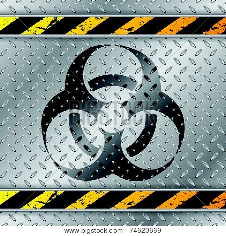 Bio Hazzard Warning Sign On Metallic Plate