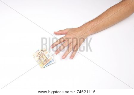 Hand And Wad Of Euros