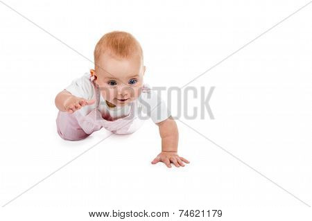 Baby crawling on the camera