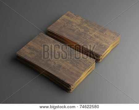 Dark Wood Business Cards On Gray Background
