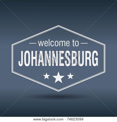 Welcome To Johannesburg Hexagonal White Vintage Label