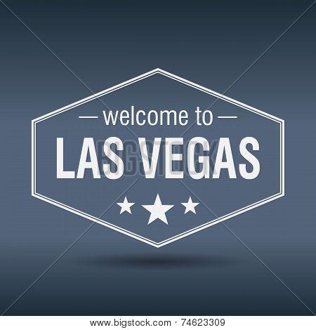 Welcome To Las Vegas Hexagonal White Vintage Label