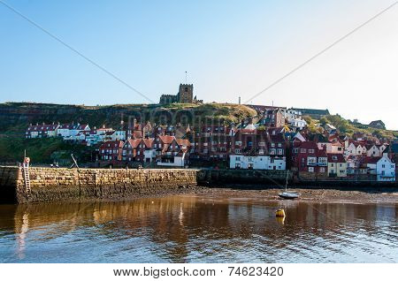 View Of Whitby city In Autumn Sunny Day, UK