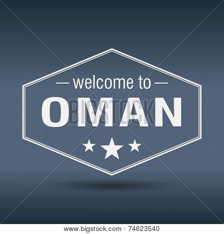 Welcome To Oman Hexagonal White Vintage Label