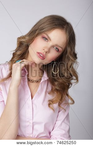 Sensuality. Stylish Lady In Pink Blouse With Ornamentation