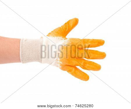 Hand in gloves shows five fingers.