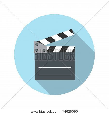 Flat Design Concept Cinema Slate Board Icon Vector Illustration