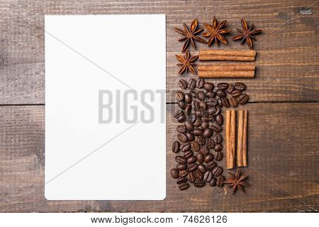 blank paper for recipes  with coffee and spices