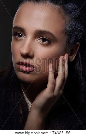 Face Of Meditative Pensive Woman In Dreams