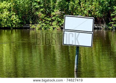 Waters With Two Empty White Signs