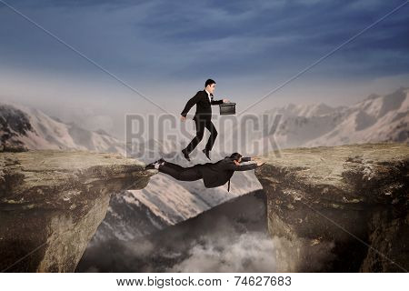 Courage Of Businessmen Through The Cliff