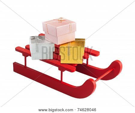 Wooden Red Sled With Gift Boxes