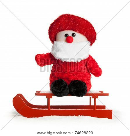Wooden Red Sled With Santa Claus Plush