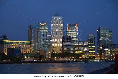 LONDON, UK - OCTOBER 17, 2014: Canary Wharf night view