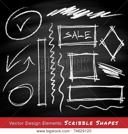 Scribble shapes hand drawn in chalk on chalkboard background