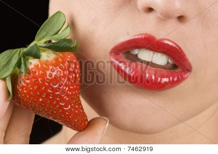 Sensual Lips And Red Strawberry