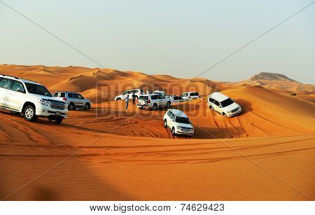 Dubai, Uae - September 12: The Dubai Desert Trip In Off-road Car Is Major Tourists Attraction In Dub