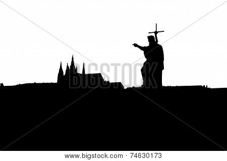 Prague Castle silhouette