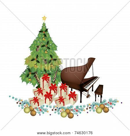 Christmas Tree with Gift Boxes and Piano