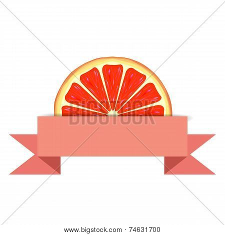 Grapefruit slice with paper banner