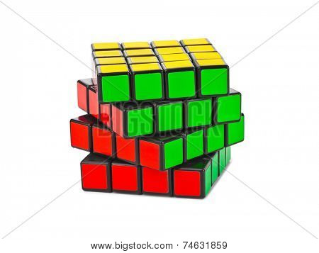 MOSCOW, RUSSIA - August 31, 2014: Rubik's cube puzzle isolated on the white background. Cube was invented by a Hungarian architect Erno Rubik in 1974