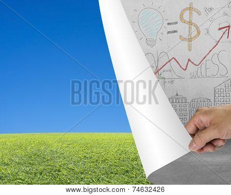 Hand Turning Business Doodles Chart Page Revealing Nature Sky Meadow