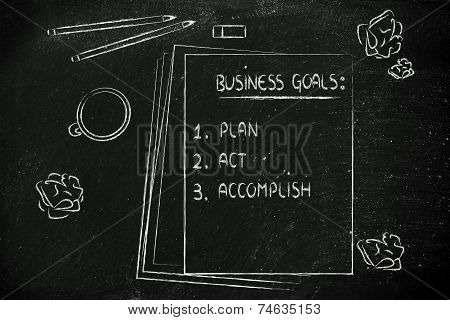 Desk With Pencils, Coffee And Documents About Business Goals