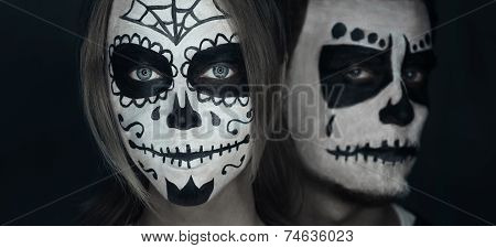 Loving Couple With Halloween Face Art
