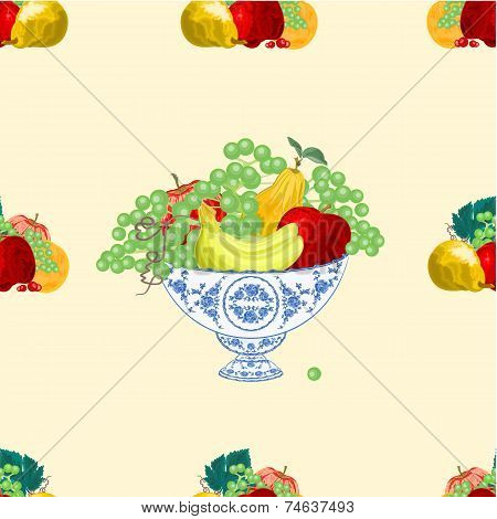 Seamless Texure Fruit Bowl Vector