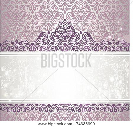 Shiny Pink & silver renaissance pattern  vintage invitaton background