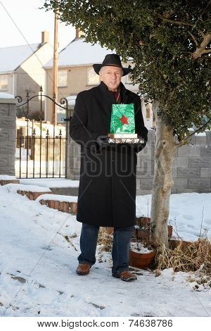 Mature Man In The Snow