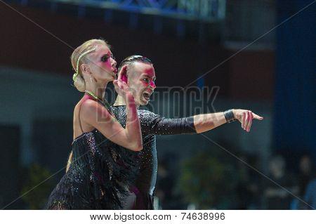 Minsk-belarus, October 18, 2014: Egor Kosyakov-anastasiya Belmach Perform Adult Latin-american Progr