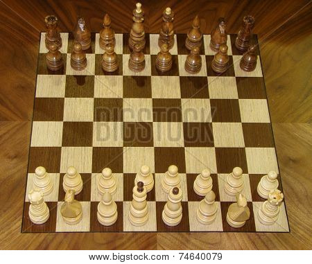 chess pieces lined up on a wooden board