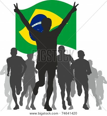 Winner with the Brazil flag at the finish