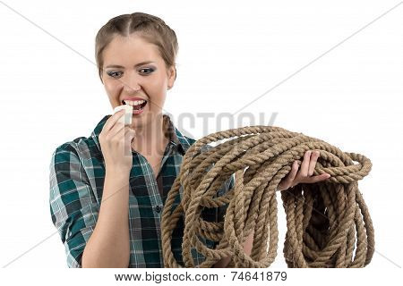 Image of young woman with the soap and twine