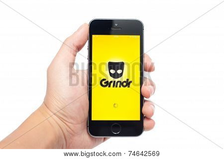 IPhone 5S with Grindr app