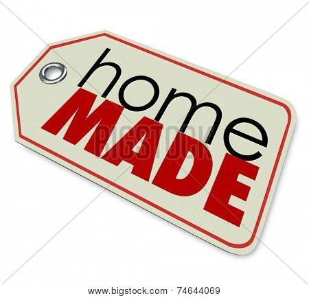 Homemade words on price tag to advertise a hand crafted, authentic and original product for sale