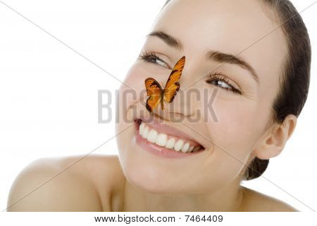 Young Beutiful Woman With Butterfly
