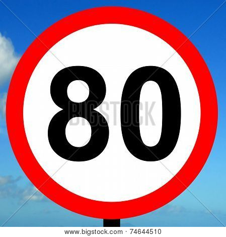 80 kpm speed limit road traffic sign.
