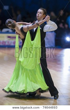 Minsk-belarus, October 18, 2014: Unidentified Dance Couple Performs Youth-1 Standard European Progra
